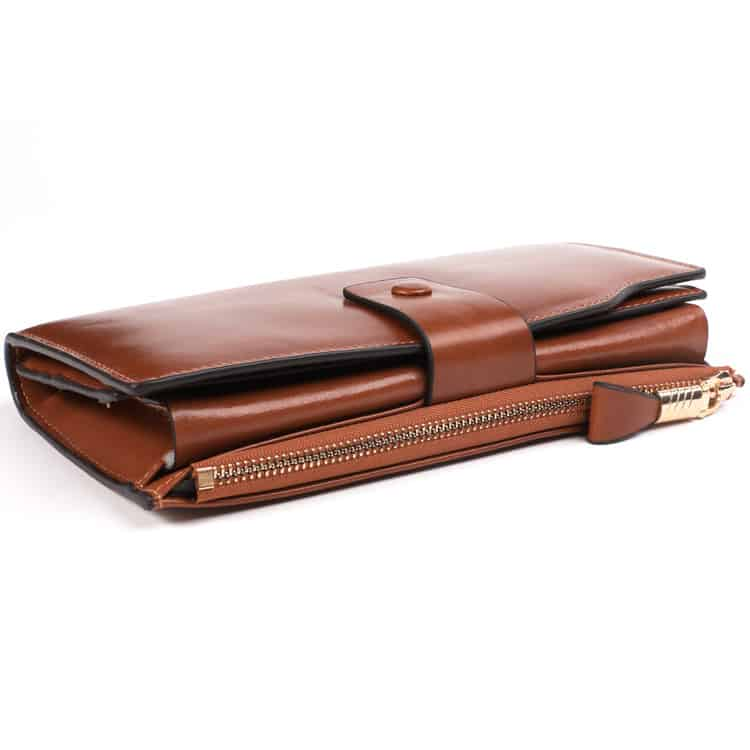 Men's leather wallet, long multi-card section, anti magnetic leather.2003#-8