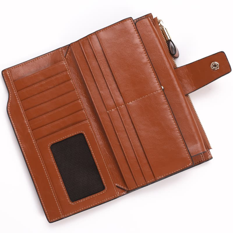Men's leather wallet, long multi-card section, anti magnetic leather.2003#-9