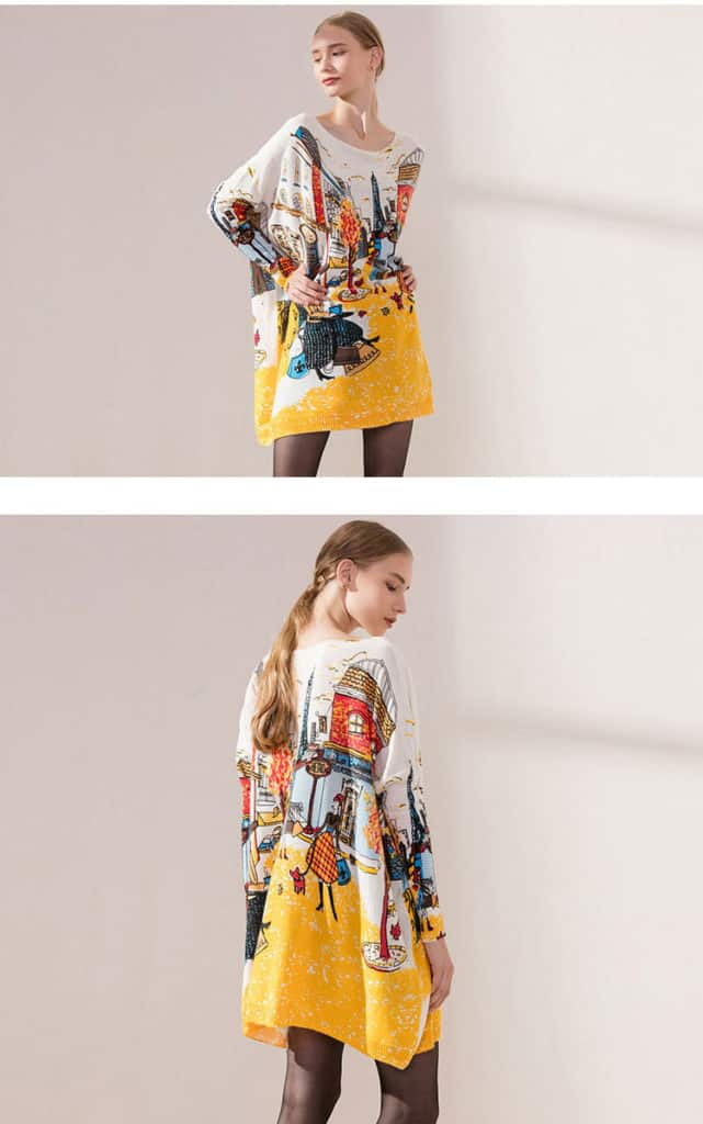 Women's sweaters, plus size, printed city sweater. No.6140-15