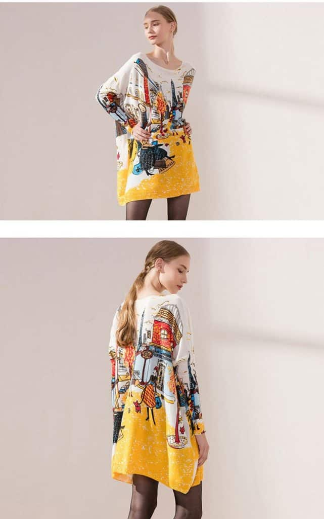 Women's sweaters, plus size, printed city sweater. No.6140-16
