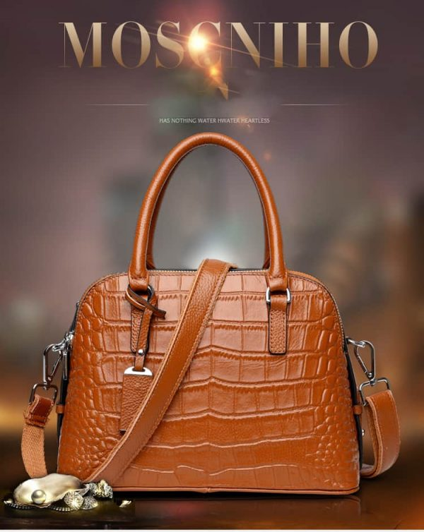 Women leather handbag, leather shell bag with satchel. 3172-brown