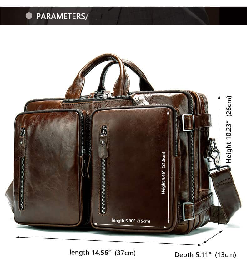 Men's bag, leather business laptop bag, shoulder slung briefcase. n433-1 size