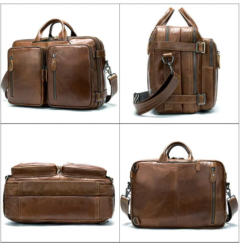 Men's bag, leather business laptop bag, shoulder slung briefcase. n433-1