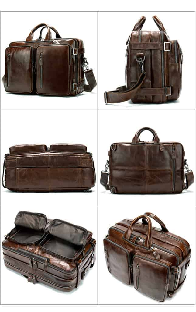 Men's bag, leather business laptop bag, shoulder slung briefcase. n433-6