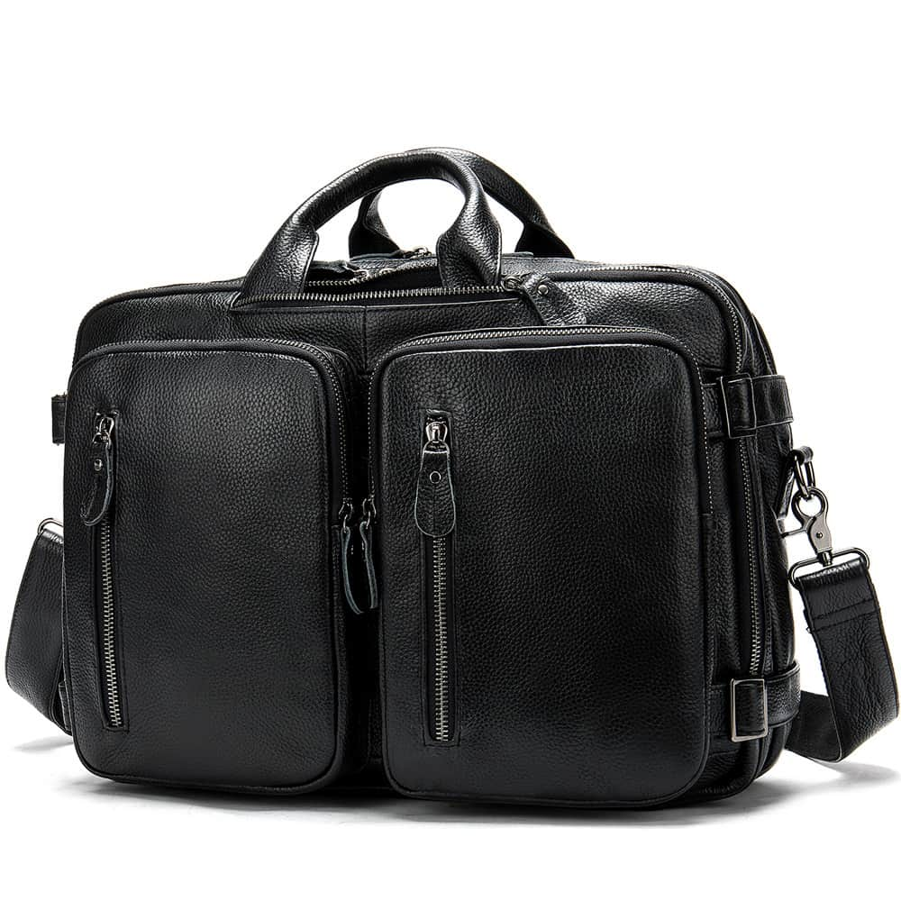 Men's bag, leather business laptop bag, shoulder slung briefcase. n433 black