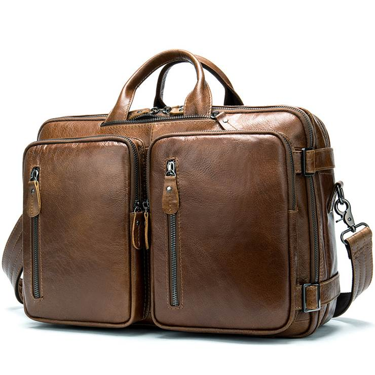Men's bag, leather business laptop bag, shoulder slung briefcase. n433 brown