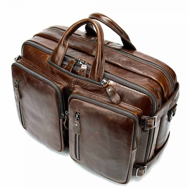 Men's bag, leather business laptop bag, shoulder slung briefcase. n433 coffee