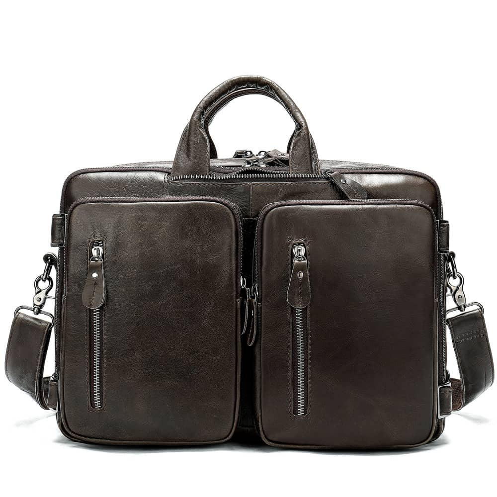 Men's bag, leather business laptop bag, shoulder slung briefcase. n433 gray