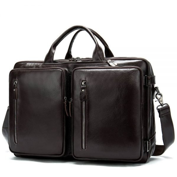 Men's leather briefcase, business shoulder hand luggage bag. n434 coffe