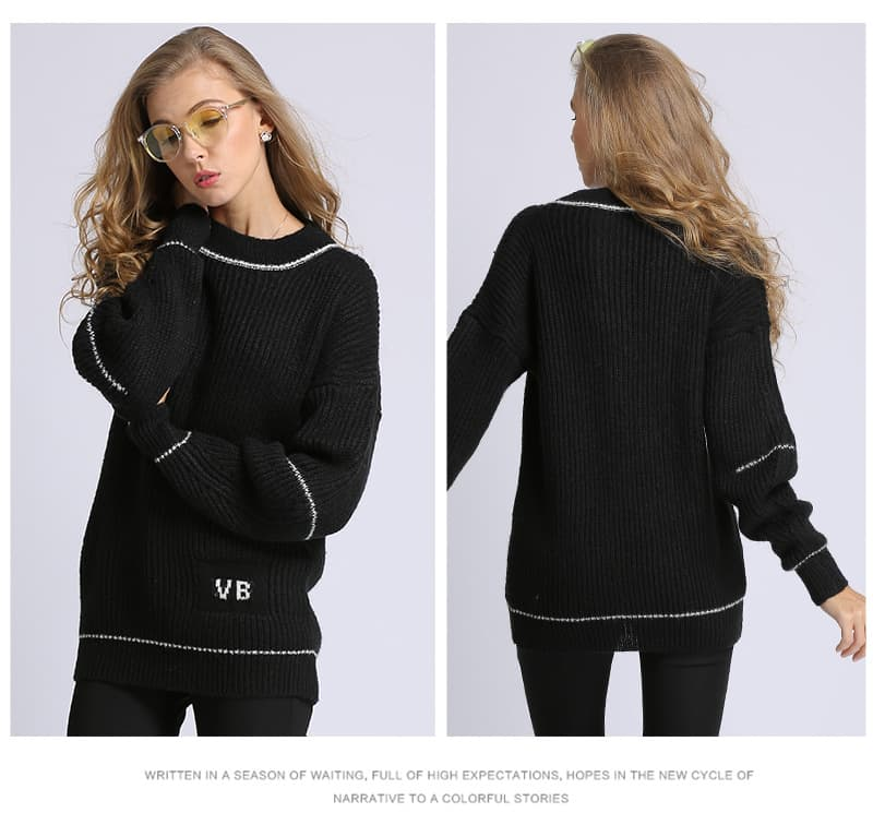 Women's sweater, fashion letters sweater, small knitted pullover.Hx7029-black details