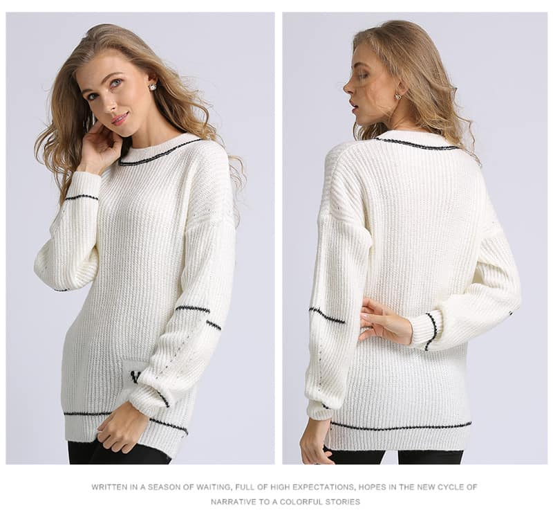Women's sweater, fashion letters sweater, small knitted pullover.Hx7029-white face and back