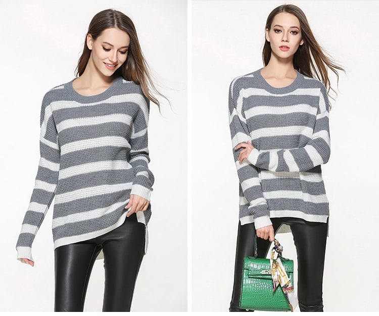 Women's sweater, large size thin sweater, loose pullover.YH-0607048-10