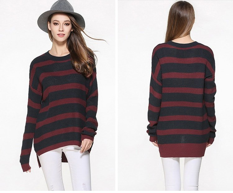 Women's sweater, large size thin sweater, loose pullover.YH-0607048-9