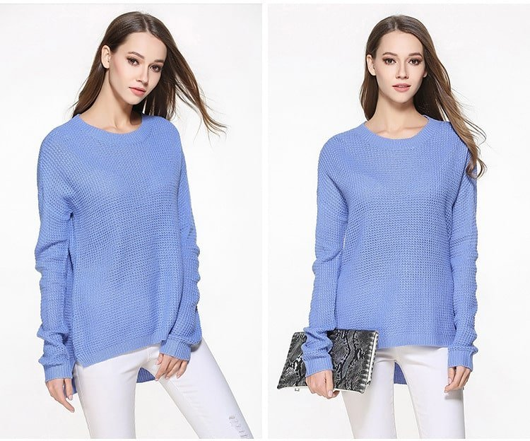 Women's sweater, large size thin sweater, loose pullover.YH-0607048-blue 01