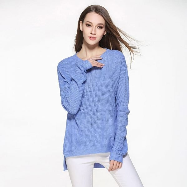 Women's sweater, large size thin sweater, loose pullover.YH-0607048-blue