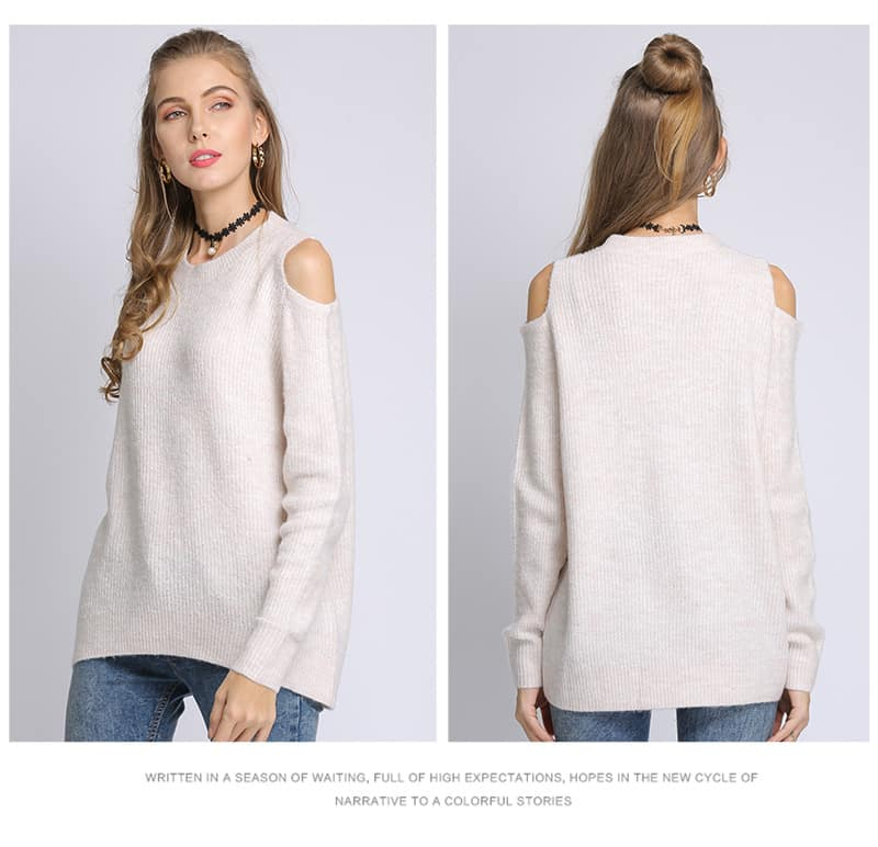 Women's sweater, loose pullover, large size knitted sweater.18105-apricot 01