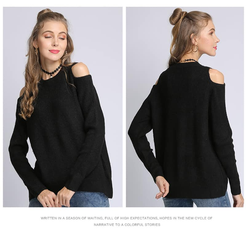Women's sweater, loose pullover, large size knitted sweater.18105-black 01