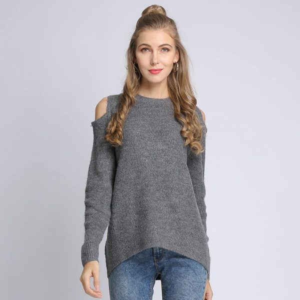 Women's sweater, loose pullover, large size knitted sweater.18105-gray