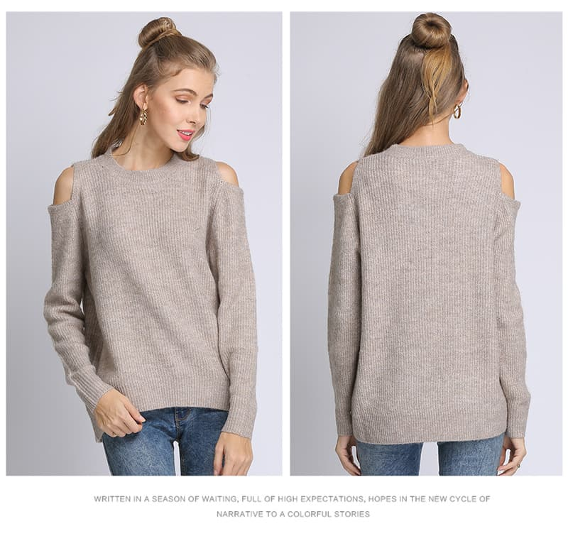 Women's sweater, loose pullover, large size knitted sweater.18105-khaki 01