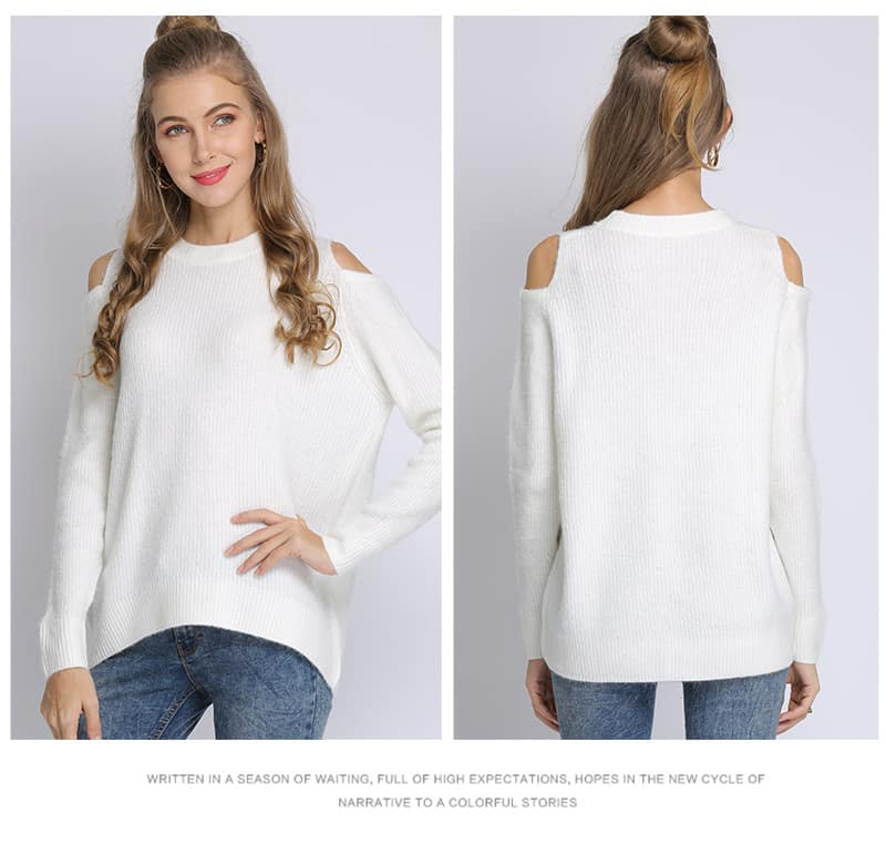 Women's sweater, loose pullover, large size knitted sweater.18105-white 01