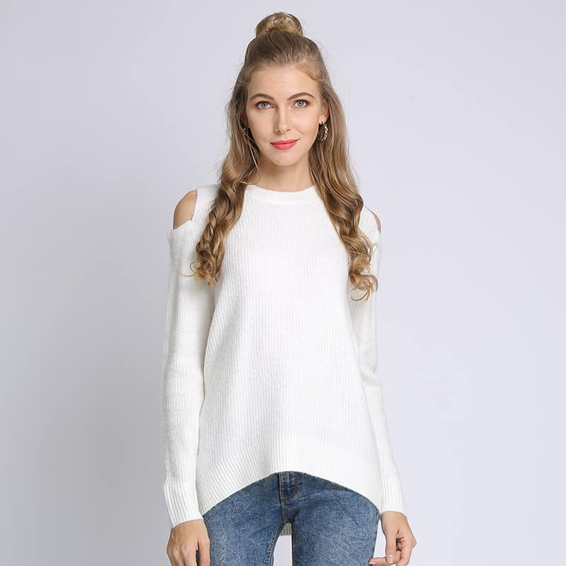 Women's sweater, loose pullover, large size knitted sweater.18105-white