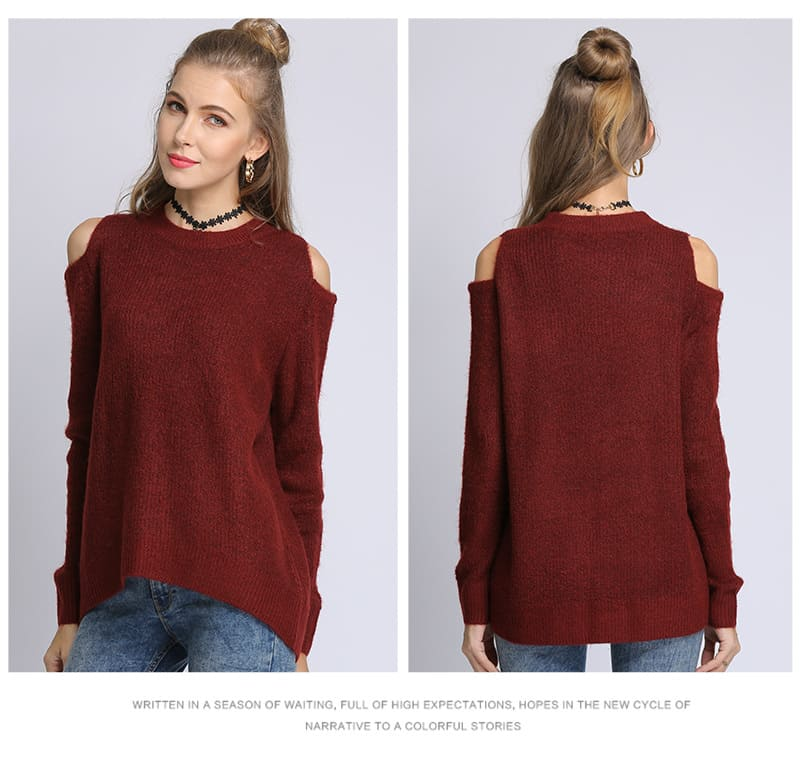 Women's sweater, loose pullover, large size knitted sweater.18105-wine red 01