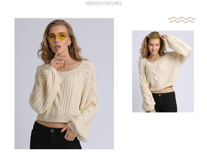 Women's sweater, short round neck loose pullover.Hx1727-01