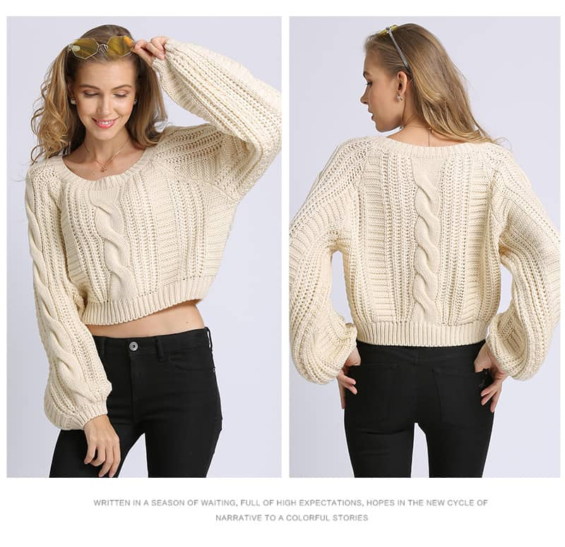 Women's sweater, short round neck loose pullover.Hx1727-04