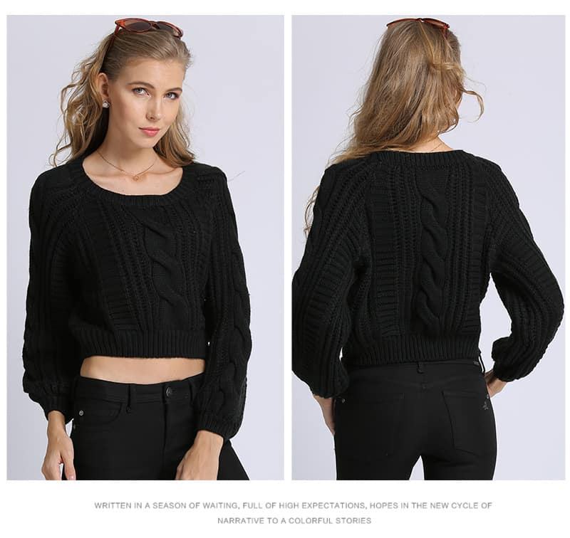 Women's sweater, short round neck loose pullover.Hx1727-08
